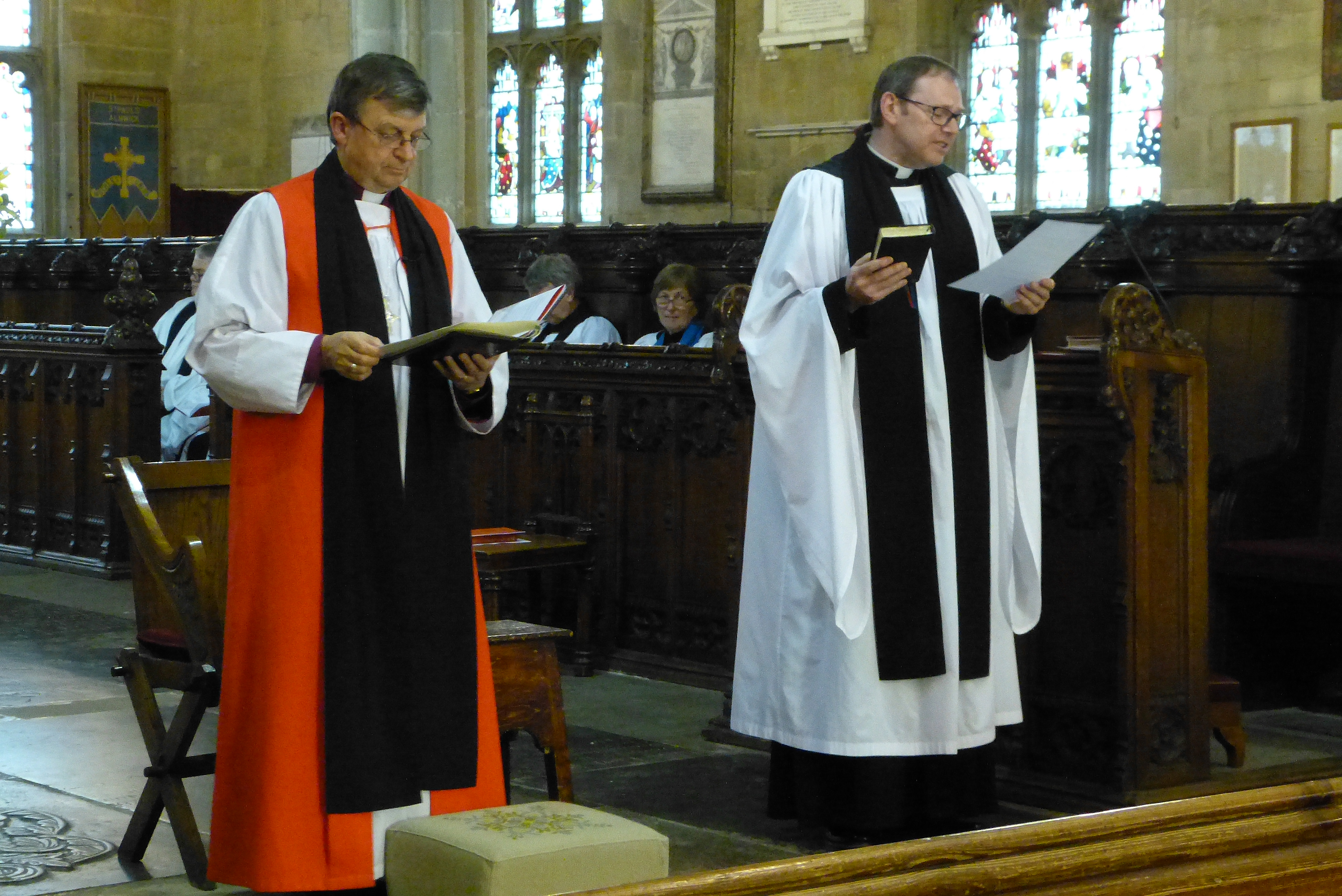 The Right Rev'd Frank White and Rev'd Canon Paul Scott during the swearing of oaths