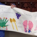 Late Morning Worship always includes an 'Alternative Activity', so that anyone who enjoys a hands-on approach to worship has a chance to contribute.  This lovely frieze was made by ladies from the Bailliffgate Residential Home.
